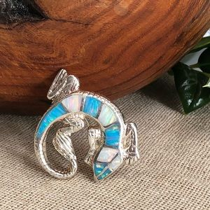 Vintage 925 Sterling Silver and Opal Lizard Brooch